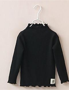 billige Pigetoppe-Pige T-shirt Daglig Ensfarvet, Bomuld Forår Efterår Langærmet Pænt tøj Lilla Gul Rosa Lys pink Fuchsia