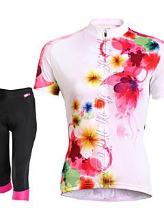 TASDAN Sykkeljersey med shorts Dame Kort Erme Sykkel Shorts JerseyFort Tørring Pustende Tilbake Lomme Svettereduserende 3D Pute