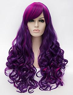 Kadın Sentetik Peruklar Bonesiz Uzun Kıvırcık Doğal Dalgalar Mor Işıltılı/Balyajlı Saç Yan Parti Bantlı Kapaksız Peruk Cadılar Bayramı