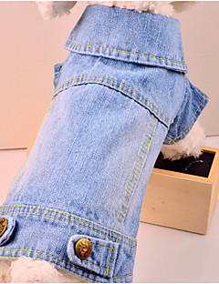 billiga Hundkläder-Hund Jeansjackor Hundkläder Enfärgad Blå Denim Kostym För husdjur Herr Dam Cowboy Mode