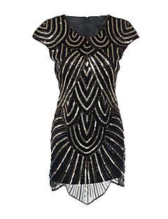 Sheath / Column Jewel Neck Short / Mini Polyester Cocktail Party Dress with Sequins