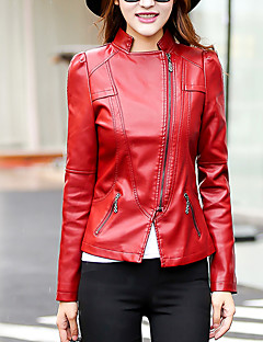 Women's Casual/Daily Street chic Fall Leather Jackets,Solid Shirt Collar Long Sleeve Red / Black PU Medium