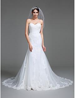 billiga Trumpet-/sjöjungfrubrudklänningar-Trumpet / sjöjungfru Hjärtformad urringning Hovsläp Tyll Bröllopsklänningar tillverkade med Applikationsbroderi av LAN TING BRIDE®