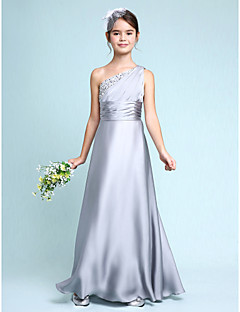 cheap Junior Bridesmaid Dresses-Sheath / Column One Shoulder Floor Length Chiffon Junior Bridesmaid Dress with Ruched Side Draping by LAN TING BRIDE®