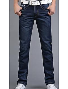 billige Herrebukser og -shorts-Herre Bomull Jeans Bukser Ensfarget / Helg