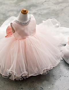 billige -kjole kort / mini blomst pige kjole - tulle ærmerøs juvel hals med beading af ydn