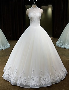 Princess High Neck Floor Length Lace Tulle Wedding Dress with Beading Lace by