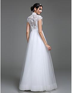 billiga A-linjeformade brudklänningar-A-linje Dunkel halsringning Golvlång Spetslivstycke Bröllopsklänningar tillverkade med Mönster av LAN TING BRIDE®