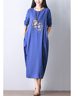 Women's Casual Street chic Loose Thin Dress,Embroidered Round Neck Maxi Long Sleeve Blue / Black Cotton / Linen Fall