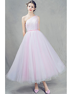 cheap Special Occasion Dresses-A-Line One Shoulder Ankle Length Tulle Homecoming Prom Dress with Beading Pleats by Shang Shang Xi