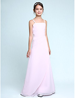 Sheath / Column Spaghetti Straps Floor Length Chiffon Junior Bridesmaid Dress with Side Draping Ruffles by LAN TING BRIDE®