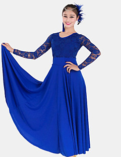 hesapli -Balo Dansı Elbiseler Kadın's Performans Dantelalar Włókno mleczne Dantel Uzun Kollu Yüksek Elbise