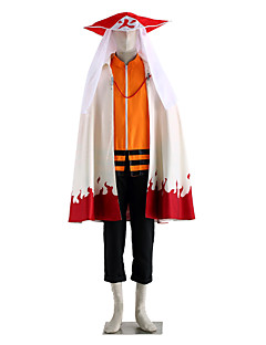 """billige Anime cosplay-Inspirert av Naruto Naruto Uzumaki Anime  """"Cosplay-kostymer"""" Cosplay Klær Ensfarget Langermet Topp Bukser Kappe Til Herre"""
