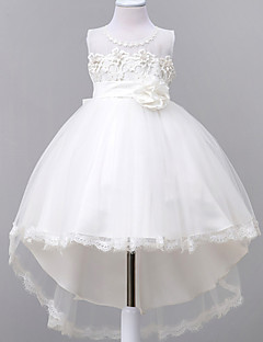 Ball Gown Court Train Flower Girl Dress - Lace Organza Sleeveless Jewel Neck with Applique by YDN