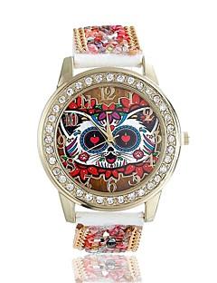 billige Blomster-ure-Dame Quartz Armbåndsur / Imiteret Diamant Læder Bånd Blomst Ugle Mode Rød