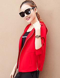 Bayanlar Orta Pamuklu Uzun Kollu Kapşonlu Sonbahar / Kış Solid Sade Günlük/Sade Kırmızı / Siyah / Yeşil-Bayanlar Ceketler
