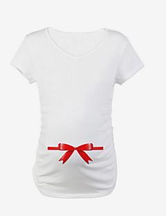 baratos Tops-Mulheres Camiseta Sólido Algodão / Fofo