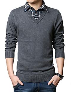 baratos Suéteres & Cardigans Masculinos-Homens Lã Pulôver - Xadrez Lã