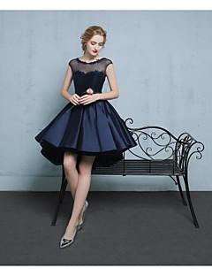 A-라인 환상 목걸이 비대칭 레이스 새틴 튤 칵테일 파티 홈 커밍 드레스 와 비즈 아플리케 으로 ARMK