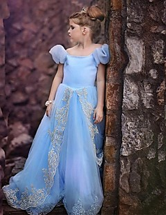 A-Line Floor Length Flower Girl Dress - Organza Short Sleeves Jewel Neck with Embroidery by YDN