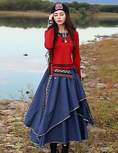 Kadın Orta Suni İpek Polyester Splandeks Uzun Kollu Yuvarlak Yaka Bahar Sonbahar Nakışlı Çin Stili Dışarı Çıkma-Kadın Tişört