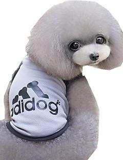 billiga Hundkläder-Katt Hund T-shirt Hundkläder Bokstav & Nummer Grå Blå Rosa Terylen Kostym För husdjur Herr Dam Ledigt/vardag Sport