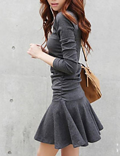 Women's Casual/Daily Street chic Skater Dress,Solid Round Neck Mini Long Sleeves Cotton Spring Fall Winter Low Rise Stretchy Medium
