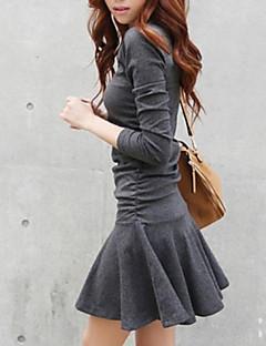 Kadın Günlük/Sade Sokak Şıklığı Kayakçı Elbise Solid,Uzun Kollu Yuvarlak Yaka Mini Pamuklu Bahar Sonbahar Kış Düşük Bel Streç Orta