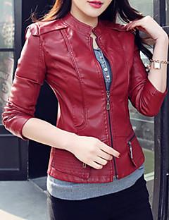 お買い得  レディースブレザー&ジャケット-女性用 プラスサイズ レザージャケット スタンド ソリッド