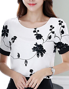 baratos -Mulheres Blusa Casual Simples Verão,Estampado Branco Decote Redondo Manga Curta Fina