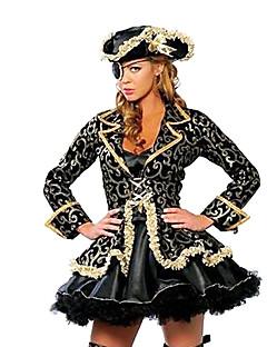 海賊 コスプレ衣装 パーティーコスチューム 女性用 ハロウィーン カーニバル イベント/ホリデー ハロウィーンコスチューム ブラック プリント