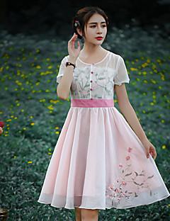 Kadın Dışarı Çıkma Büyük Beden Çin Stili Kılıf Elbise Nakışlı,Kısa Kollu Yuvarlak Yaka Diz üstü Polyester Yaz Normal Bel Esnemez Orta