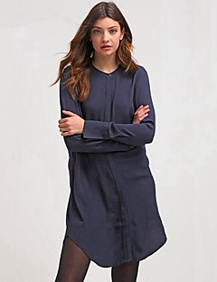 Women's Going out / Casual/Casual Loose DressSolid Round Neck Above Knee Long Sleeve Blue Cotton Spring / Fall BN0772