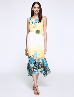 Women's Beach Boho A Line Loose Dress,Floral Round Neck Maxi Sleeveless Polyester Summer Mid Rise Inelastic
