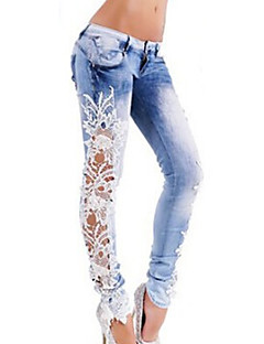 Women's Mid Rise Micro-elastic Jeans Pants,Street chic Color Block Cotton Rayon All Seasons