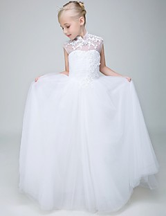 cheap Communion Dresses-Ball Gown Ankle Length Flower Girl Dress - Tulle Sleeveless High Neck with Beading by Lovelybees