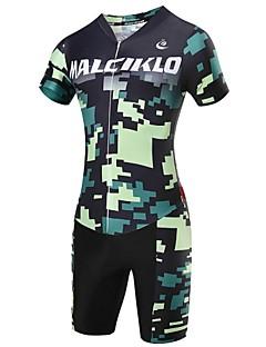 זול בגדי רכיבת אופניים-Malciklo שרוול קצר חולצת ג'רסי ומכנס קצר לרכיבה לגברים אופניים קרב שלושה בגדים צמודים מדים בסטיםנושם ייבוש מהיר רוכסן קדמי לביש חדירות
