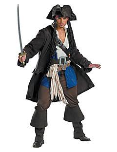 billige Halloweenkostymer-Pirat Cosplay Kostumer Party-kostyme Herre Halloween Festival / høytid Drakter Svart Ensfarget
