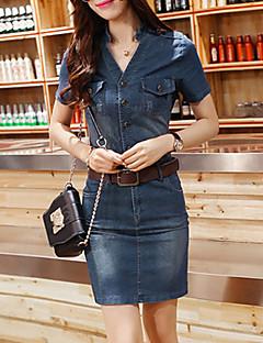 Χαμηλού Κόστους Denim Fashion-Γυναικεία Φόρεμα Καθημερινό Πάνω από το Γόνατο Κοντομάνικο Ντένιμ