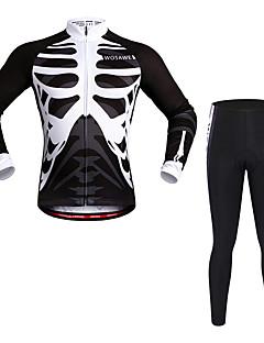 billige Sykkelklær-WOSAWE Langermet Sykkeljersey med tights - Svart Sykkel Klessett, Fort Tørring, Refleksbånd