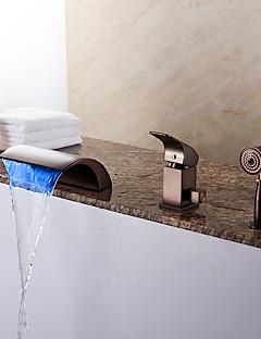 tanie Bateria Wannowa LED-Bateria Wannowa - Wodospad Zawiera prysznic ręczny LED Olej przetarł brązu Wanna rzymska Pojedynczy Uchwyt Trzy Otwory