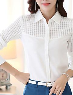 Damen Solide Übergröße Arbeit Hemd,Hemdkragen Frühling Langarm Weiß Polyester Mittel