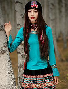 Kadın Orta Pamuklu Splandeks Uzun Kollu Yuvarlak Yaka Bahar Sonbahar Nakışlı Çin Stili Dışarı Çıkma-Kadın Tişört