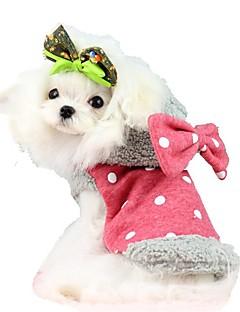 billiga Hundkläder-Katt / Hund Kappor / Huvtröjor Hundkläder Rosett Röd / Blå Polär Ull Kostym För husdjur Herr / Dam Håller värmen