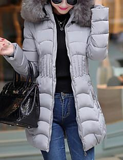 Damen Gefüttert Mantel,Lang Einfach Übergröße Solide-Polyester Polyester Langarm Mit Kapuze