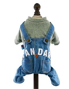 billiga Hundkläder-Hund Jumpsuits Jeansjackor Hundkläder Jeans Mörkblå Gul Rosa Ljusblå Denim Cotton Kostym För husdjur Herr Dam Cowboy Mode
