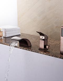 billige Foss-Badekarskran - Antikk Art Deco / Retro Moderne Olje-gnidd Bronse Romersk kar Keramisk Ventil