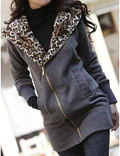 女性 冬 レオパード コート ラウンドネック ホワイト / ブラック コットン 長袖 厚手