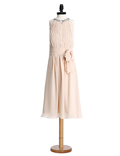 Sheath / Column Jewel Neck Tea Length Chiffon Junior Bridesmaid Dress with Draping Ruching Sequins by LAN TING BRIDE®