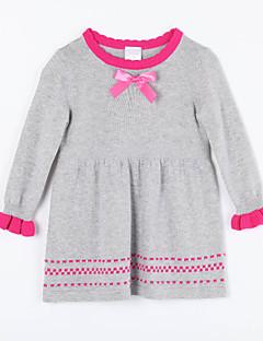 女の子の カジュアル/普段着 ゼブラプリント コットン,ドレス / セーター&カーデガン 秋 グレー
